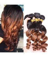 Top Hair Ombre Peruvian Virgin Hair Loose Wave 4 Bundles T1B/30 Black To... - $71.69