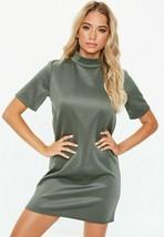 KHAKI HIGH NECK SHIFT DRESS (MISSGUIDED)  - $10.58