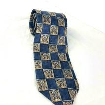 Bill Blass Mens Silk Necktie Blue Squares Patterned  - $12.87