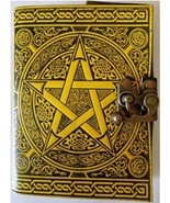 Pentagram black and yellow leather blank book with latch 240 page - $33.00