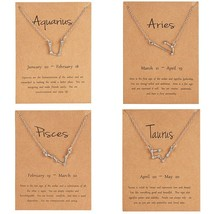 12 Constellation Silver Necklace with card Zodiac Sign Rhinestone Birthday gift  - $7.94