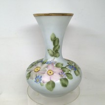"Charleton Fenton Hand Painted Floral Glass Vase 10""x7"" - $42.75"