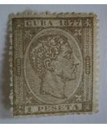 CUBA 1877 Stamp, Scott #75 King Alfonso XII  1p (brown) Single - $15.00