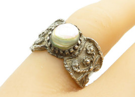 925 Sterling Silver - Vintage Abalone Shell Wire Twist Band Ring Sz 6 - ... - $28.08