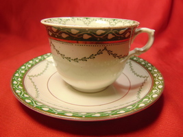 """2 1/8"""", Flat Demitasse Cup & Saucer, from Furnivals, in the Derby Pattern. - $13.99"""