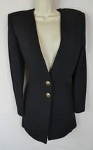 St. John Basics 6 cardigan top jacket black Santana knit gold logo butto... - $148.49