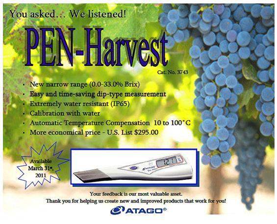 Atago PEN-HARVEST Digital Pen Brix Refractometer 32 PAL