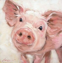 Pig on the Canvas Art , Hand Painted Oil Painting Wall Docor (24x24in, N... - $23.75