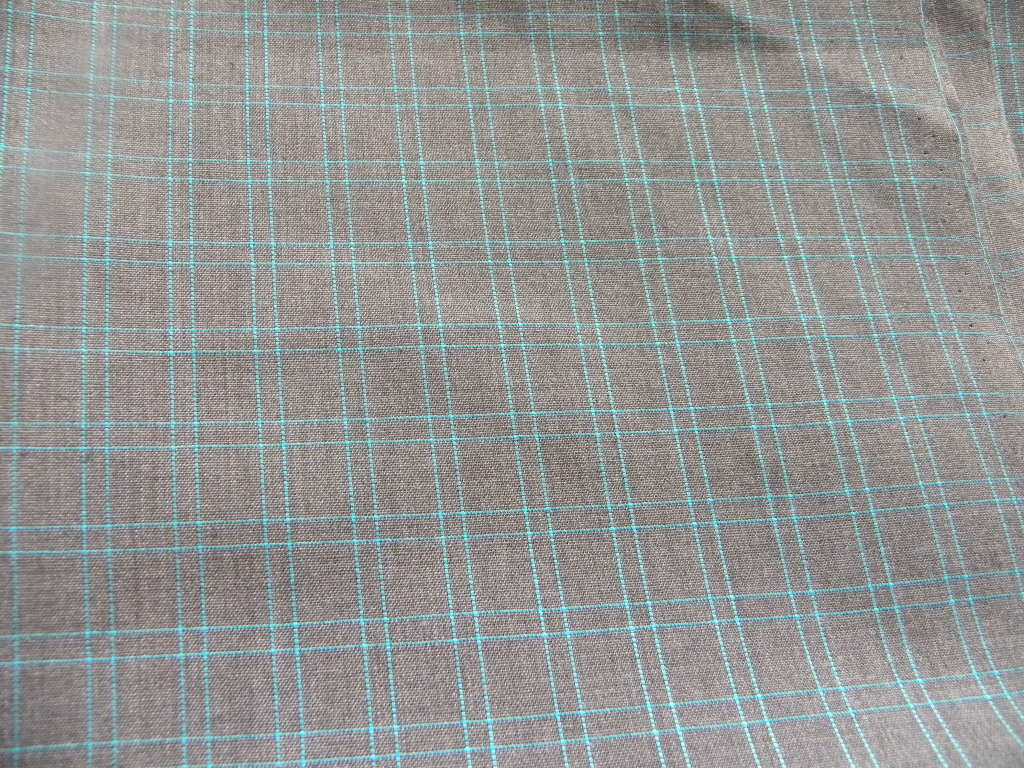 Blue and grey cotton tweed fabric