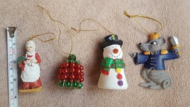 Lot of 4 VTG Mixed Christmas Holiday Ornaments: Mrs. Claus, Snowman, bel... - $17.77