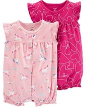 Carter's Baby Girls 2-Pack Romper, Unicorn/Hearts, 12 Months - $14.65