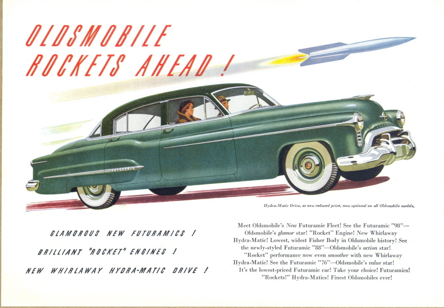 1950 Oldsmobile automobile car rocket print ad