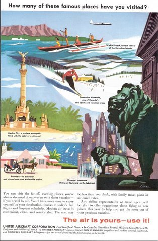 1957 United Aircraft Co. vacation promotion print ad