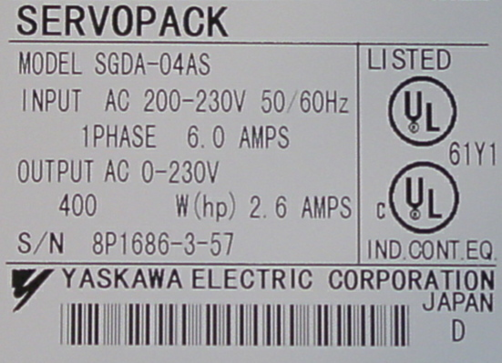 Yaskawa Servo Drive Amplifier SGDA 04AS NIB