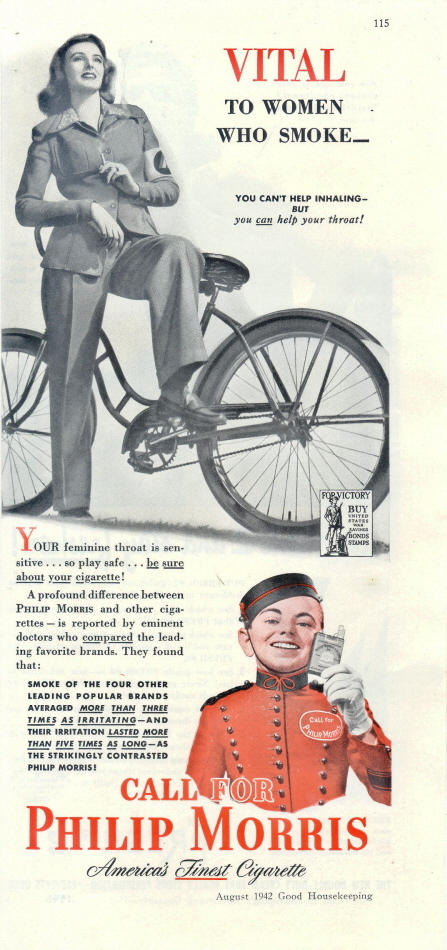 1942 Philip Morris Cigarettes Bicycle 1/2 page print ad