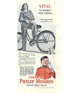 1942 Philip Morris Cigarettes Bicycle 1/2 page print ad - $10.00