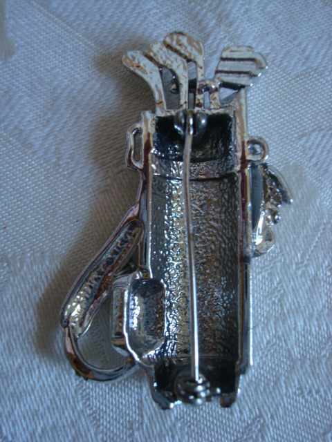 AJC Golf Bag & Clubs Pin ~ Brooch ~ Silver-tone ~ Clear Rhinestones