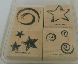 Stampin Up Stars & Swirls Mounted Stamp Set Patriotic Fourth of July Crafts USA - $9.90