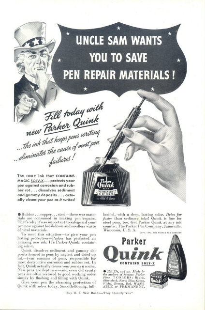 1942 Parker Quink Fountain Pen SOLV-X Ink Uncle Sam ad