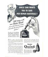 1942 Parker Quink Fountain Pen SOLV-X Ink Uncle Sam ad - $10.00