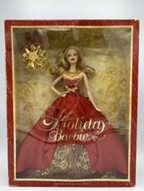 2014 Holiday Barbie NIB - Blonde Hair, Red & Gold Dress DAMAGED BOX - $20.78
