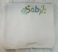 Just Born Baby Blanket White Embroidered BABY Giraffe Elephant Plush B350 - $17.99