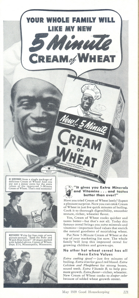 1939 Cream of Wheat Rastus Black Chef cereal print ad