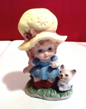Cute Little Girl And Her Kitty Cat Porcelain Ceramic Figurine 4 1/2 Inch... - $8.60