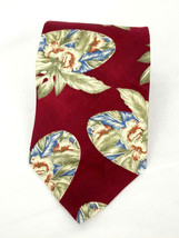 Executive of Boston Mens Burgundy Floral 100% Silk Tie Made in USA - $14.26