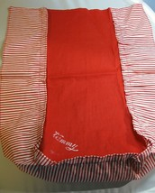 Vintage Tammy Doll Red Bed Spread w/ Tammy name Red & White Stripes TLC ... - $12.99