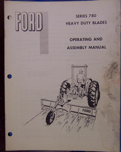 Ford Series 780 Heavy Duty Scrape Blades Operator's Manual