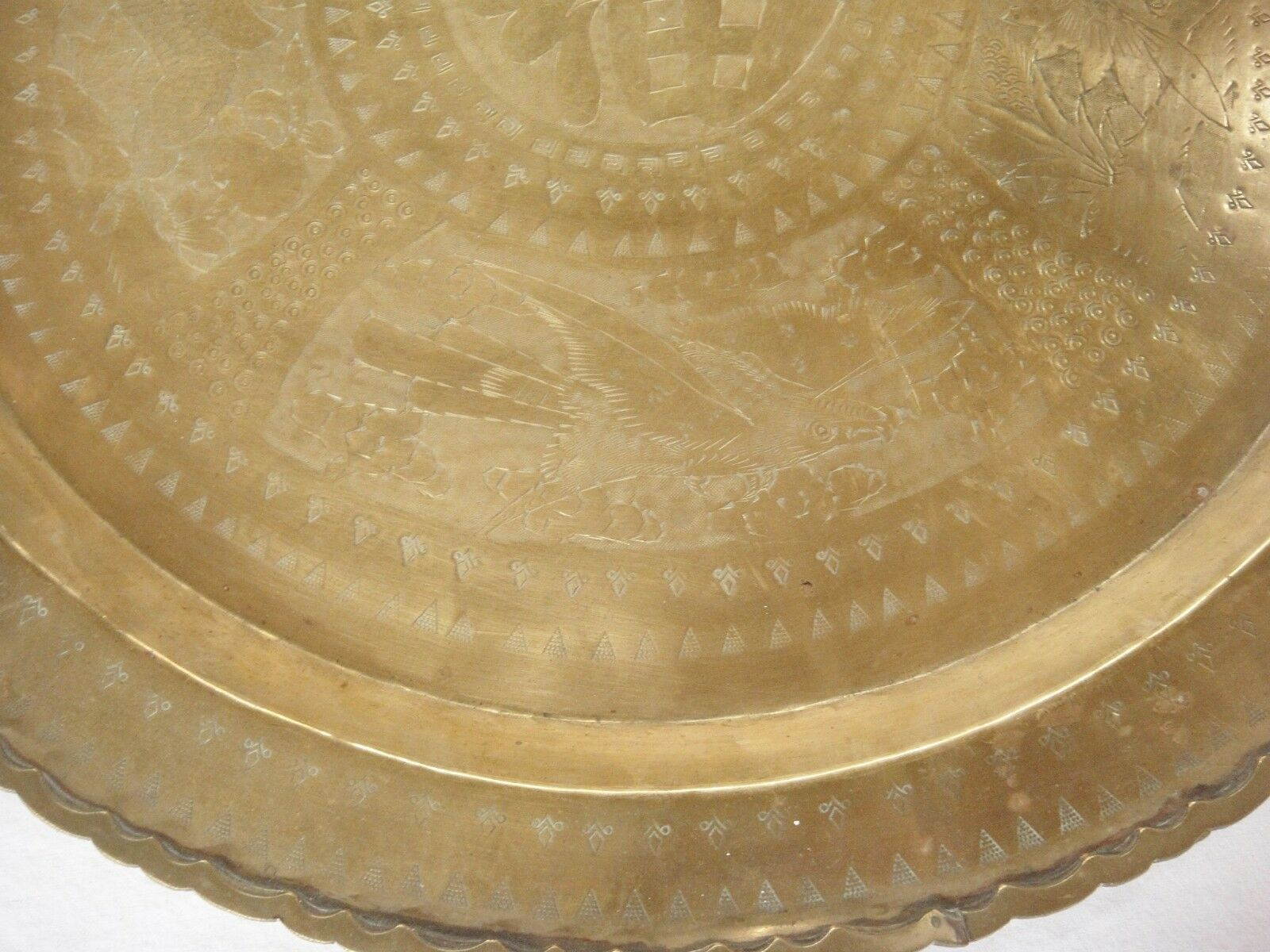 """Huge Brass Asian Tray Centerpiece Charger 22"""" Birds of Prey Rabbit Engraved HTF image 5"""