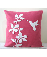 Spring Florals Humming Bird Fuchsia White Decorative Pillow Cover Pillow... - $29.00