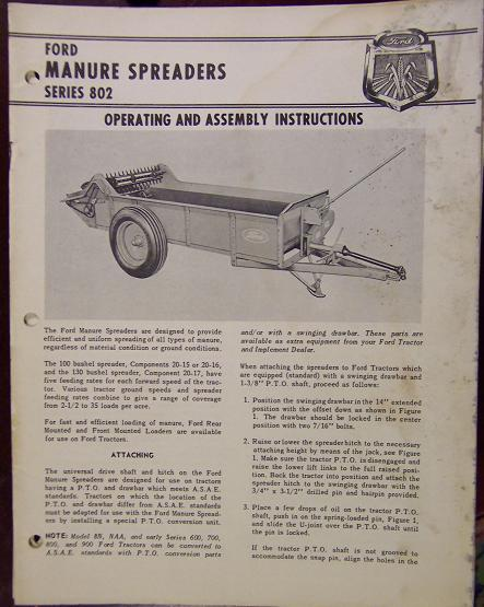 Ford 802 Manure Spreader Operator's Manual