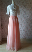 Coral Pink Long Tulle Skirt Coral Wedding Guest Tulle Skirt Floor Length image 3