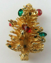 Vintage Accessocraft Retro Jewelry Brooch Christmas Tree Gold Tone - $39.00