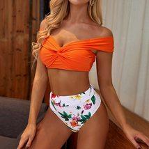 Sexy Orange Off Shoulder Flower Print High Waist Bikini Set