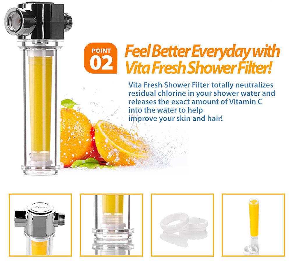 VitaFresh Vita Gel Shower Filter with 4 Vitamin C Gel Cartridge UBS