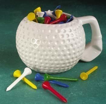 Golf Tee Mug White with Colorful Tees