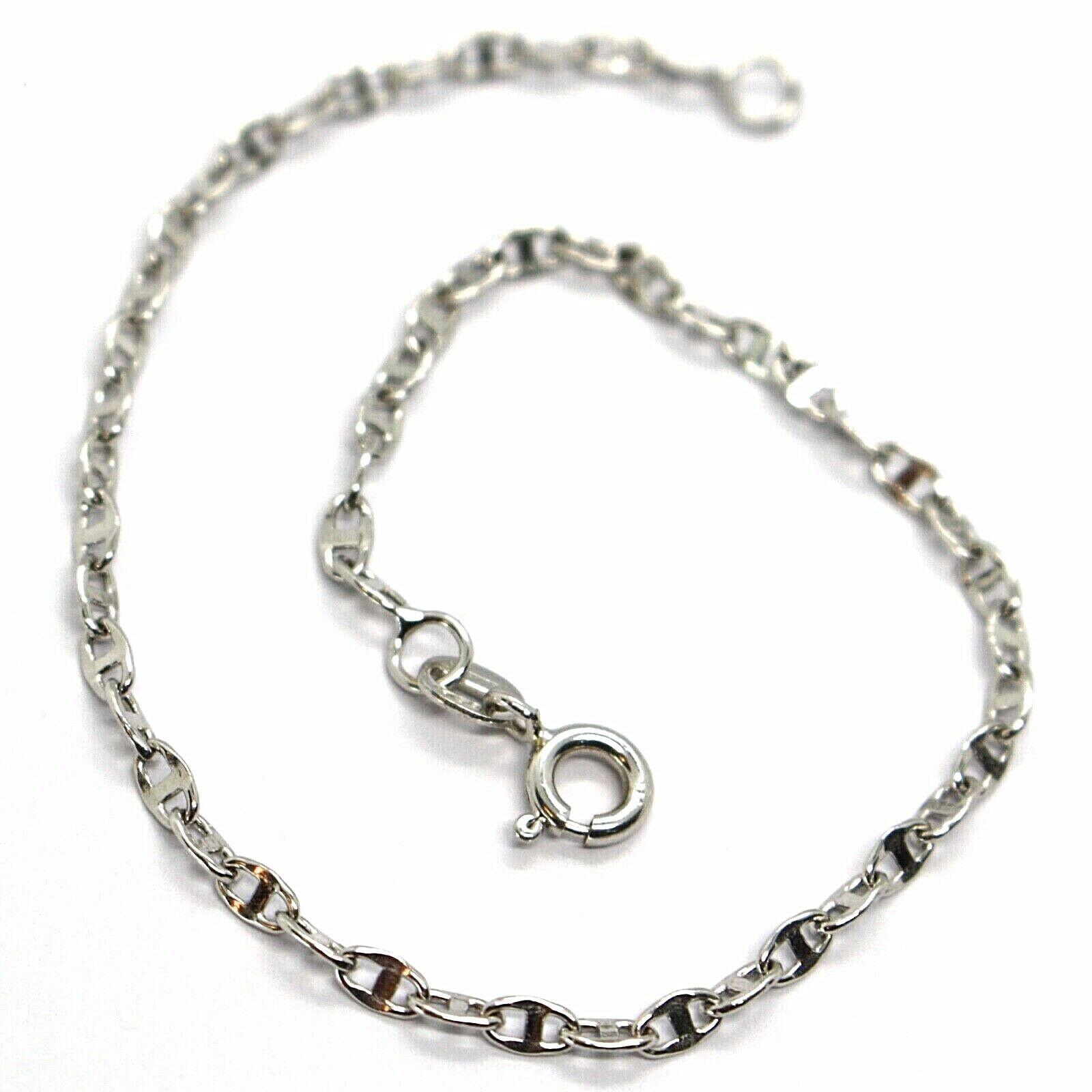 Bracelet White Gold 18K 750, Jersey Marina, Marinara, Crosspiece Criss Crossed