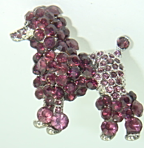 Poodle Pin Dog Standard Purple Amethyst Rhinest... - $15.95