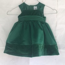 Baby Girl Party Dress 3 Months Carters Green Velveteen Satin Christmas Holiday - $16.83
