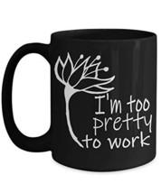 Creative Flower Black Ceramic Tea Coffee Mugs 15oz I'm Too Pretty To Work Specia - $21.73