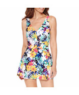 Le Cove Swimdress Size 18 Floral Blue White Yellow Green $96 New - $49.49