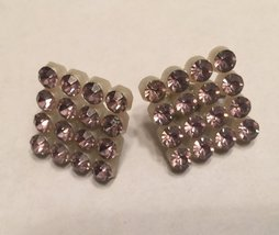 """Vintage 1950s Pale Pink Crystal Rhinestone 1"""" Squares Retro Clip On Earrings image 3"""