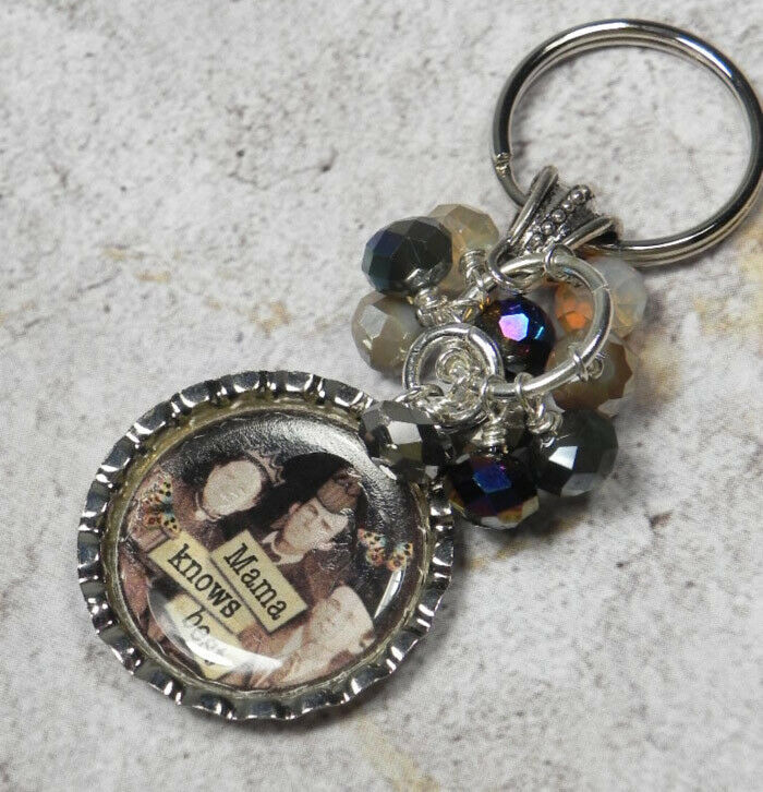 Primary image for Mama Knows Best Bottle Cap Keychain Crystal Beaded Handmade Split Key Ring New