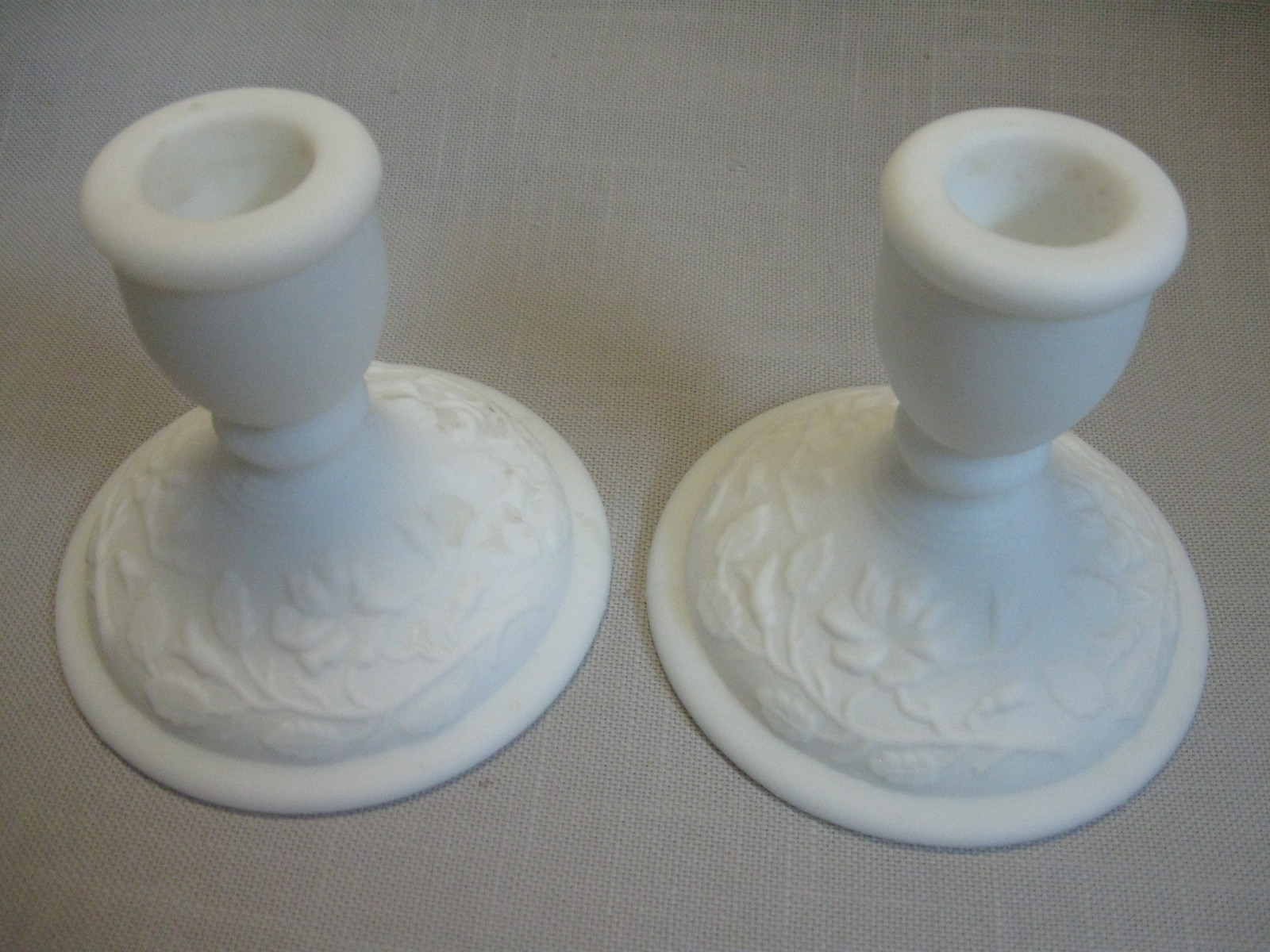 Milk Glass Doe Skin Candle Stick Holders Rose Pattern Imperial Qty 2  1950-1971