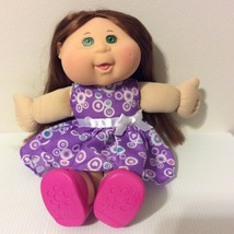 2014 Cabbage Patch Doll Brown Cornsilk Hair Pink Mary Jane Shoes purple ... - $24.25