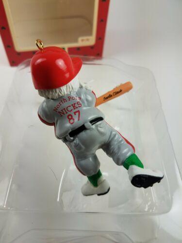 Hallmark 1987 Keepsake Ornament Santa at the Bat Snow Baseball Player LT#111 image 3