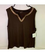 Croft & Barrow Womens Tank Top Brown Sleeveless Notch Neck Beads Plus 2X... - £6.55 GBP